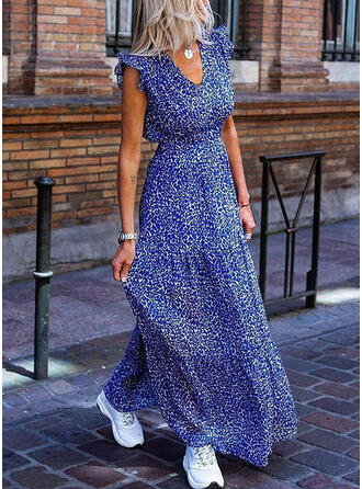 Print/Floral Sleeveless A-line Casual/Elegant Maxi Dresses