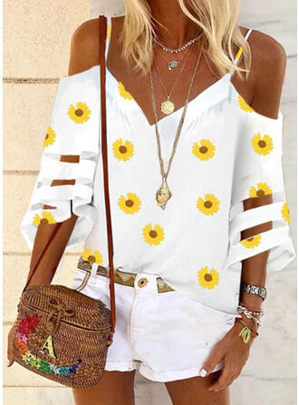 Sunflower Print Cold Shoulder Flare Sleeve 3/4 Sleeves Casual Blouses