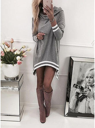 Striped Long Sleeves Shift Above Knee Dresses