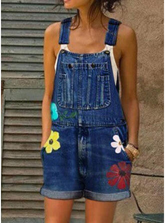 Floral Print Strap Sleeveless Casual Denim Romper
