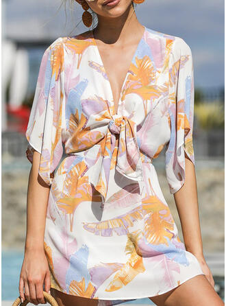 Print 1/2 Sleeves A-line Above Knee Casual/Vacation Dresses