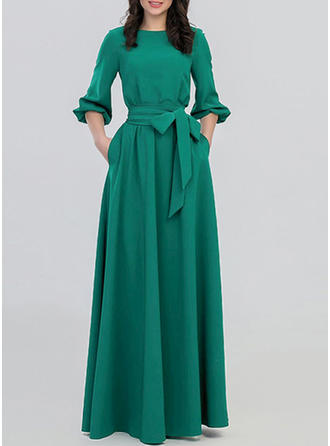 Solid Round Neck Maxi A-line Dress