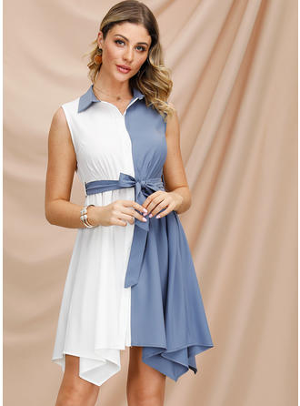 カラーブロック ノースリーブ Aラインワンピース 非対称 カジュアル/エレガント ドレス