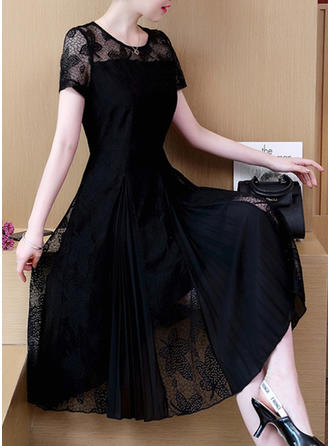 Lace Round Neck Knee Length A-line Dress
