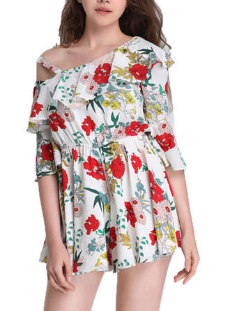 Print/Floral Flare Sleeves A-line Above Knee Casual Dresses