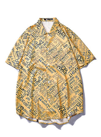 Men's Letter Hawaiian Beach Shirts