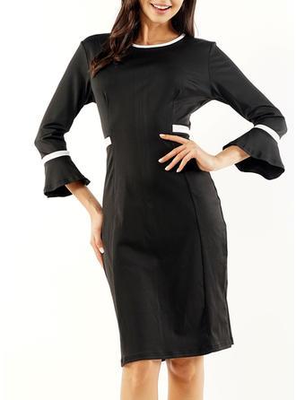 Color Block 3/4 Sleeves Sheath Knee Length Casual Dresses