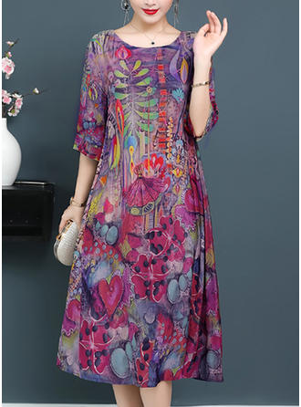 Floral Round Neck Midi Shift Dress