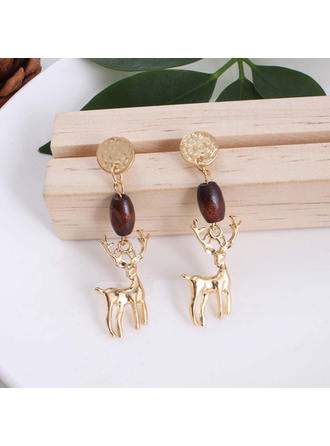 Nice Alloy Wooden Beads Women's Fashion Earrings (Set of 2)