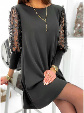 Floral/Solid 3/4 Sleeves Shift Above Knee Little Black/Elegant Tunic Dresses