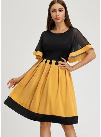 Color-block Krátké rukávy Áčkové Délka ke kolenům Vintage/Neformální/Elegantní Šaty