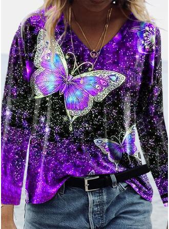 Print vlinder V-hals Lange Mouwen T-shirts