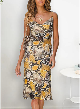 Animal Print Sleeveless Sheath Knee Length Casual/Vacation Dresses