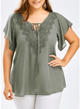Cotton V Neck Lace Short Sleeves Shirt Blouses
