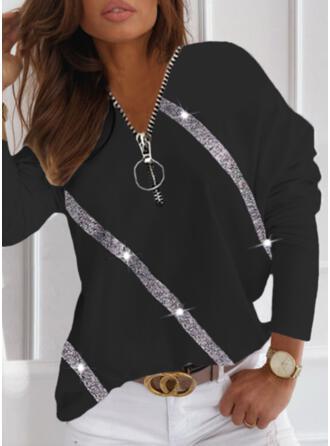 Nadruk cekiny Dekolt w kształcie litery V Długie rękawy Dropped Shoulder Nieformalny Bluzki