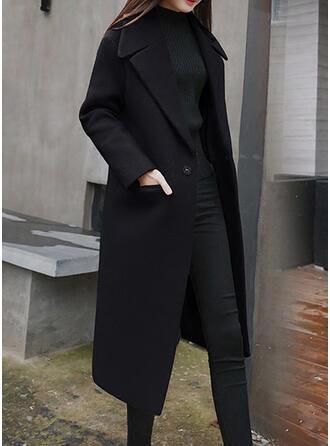 Di lana Maniche lunghe Colore solido Cappotto in Pelliccia