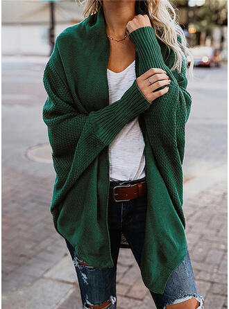 Polyester Manches longues Couleur unie Manteaux oversize