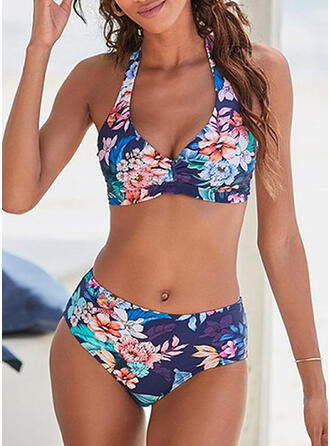 Fleuris Taille Haute Dos Nu Col V Colorful Boho Bikinis Maillots De Bain