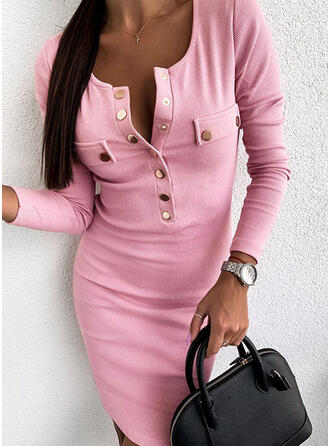 Solid Long Sleeves Bodycon Knee Length Little Black/Casual Dresses