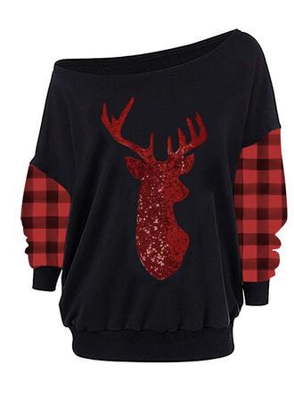 Grid pailletter One Shoulder Lange ærmer Jule sweatshirt