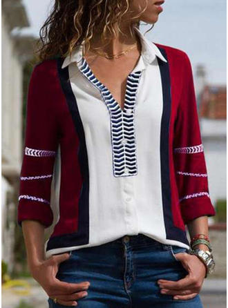 Color Block Striped Lapel Long Sleeves Button Up Shirt Blouses