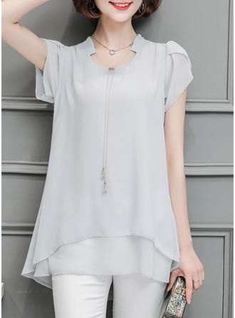 Szyfon Litera V Jednolity kolor Krótkie Rękawy Nieformalny Bluzki