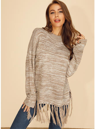 Print Chunky knit Round Neck Sweaters