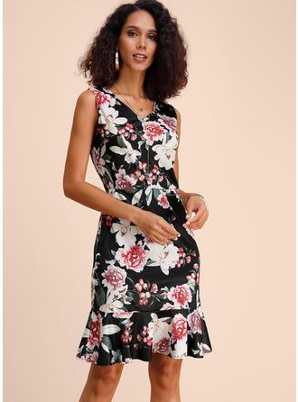 Imprimée/Fleurie Sans Manches Fourreau Longueur Genou Décontractée/Élégante Robes