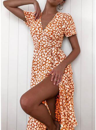 Nadrukowana/Kwiatowy Krótkie rękawy W kształcie litery A Casual/Elegancki Midi Sukienki