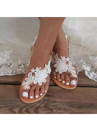 Frauen PU Flascher Absatz Sandalen Flache Schuhe Zehenring mit Blume Einfarbig Schuhe