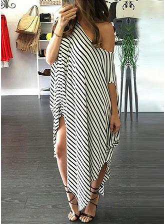 Striped Bateau Maxi Shift Dress