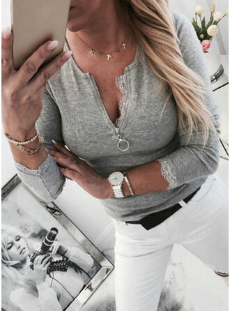 Jednolity Koronka Dekolt w kształcie litery V Długie rękawy Casual Elegancki Bluzki