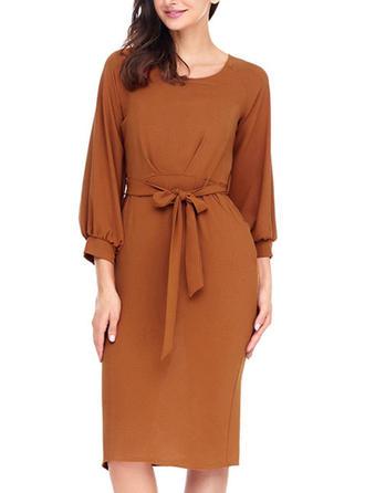Color-block Round Neck Midi Sheath Dress