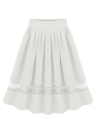 Chiffon Einfarbig Knielänge A-Linie Röcke