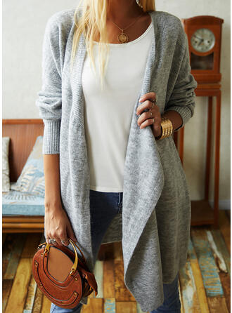 Solid Pocket Collarless Asymmetrical Cardigan