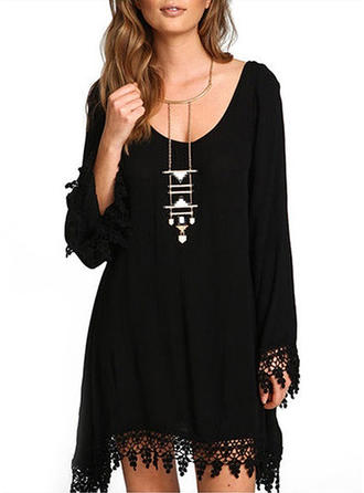 Long Sleeves Shift Above Knee Little Black/Casual