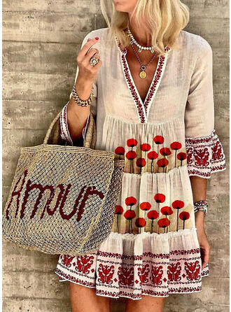 Print/Floral 3/4 Sleeves/Flare Sleeves Shift Above Knee Boho/Vacation Tunic Dresses