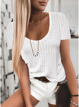Solid Round Neck Short Sleeves Casual Knit Blouses