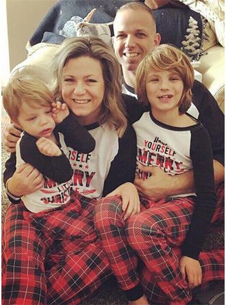 Color-block Plaid Family Matching Christmas Pajamas