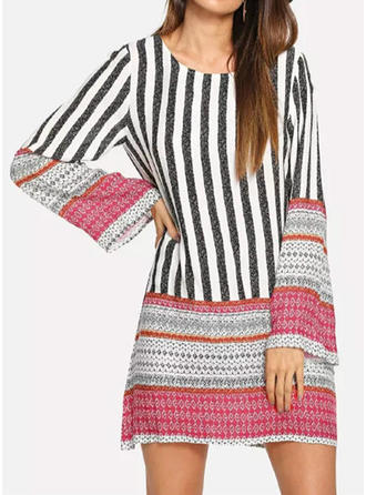 Striped Round Neck Above Knee Shift Dress