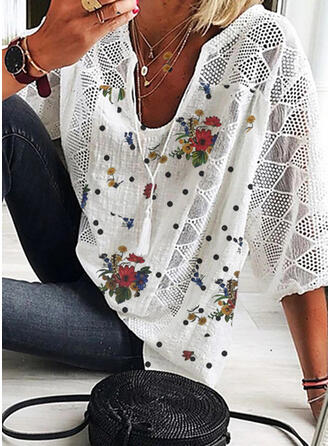 Print Lace PolkaDot V-Neck 3/4 Sleeves Casual Blouses