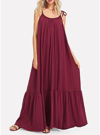 Solid Sleeveless Shift Maxi Casual Dresses