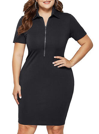Solid Short Sleeves Bodycon Knee Length Casual/Plus Size Dresses