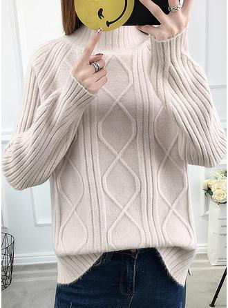 Polyester Round Neck Waffle Knit Sweater