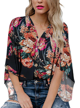 Print V Neck 3/4 Sleeves Button Up Casual Elegant Blouses