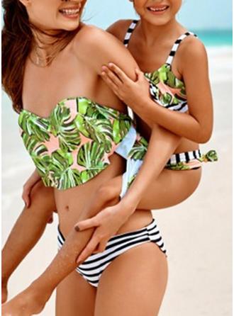 Mama und Ich Gestreift Drucken Passende Badeanzug
