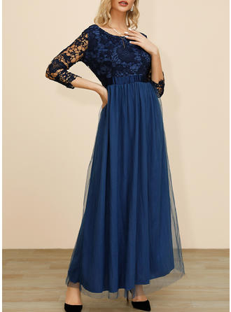 Lace 1/2 Sleeves A-line Maxi Casual Dresses