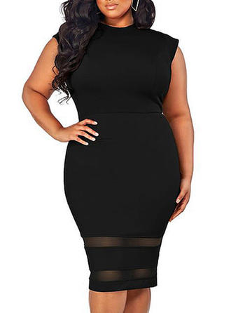 Solid Round Neck Knee Length Bodycon Dress