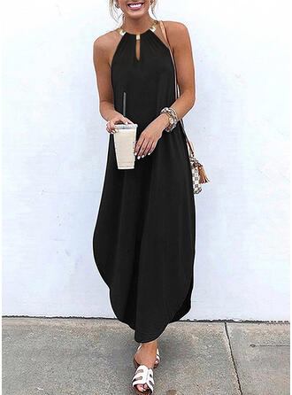 Solid Sleeveless Shift Little Black/Casual/Vacation Maxi Dresses
