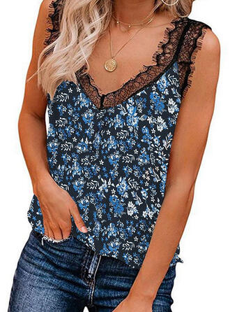 Print Floral Patchwork Lace V-Neck Sleeveless Casual Tank Tops